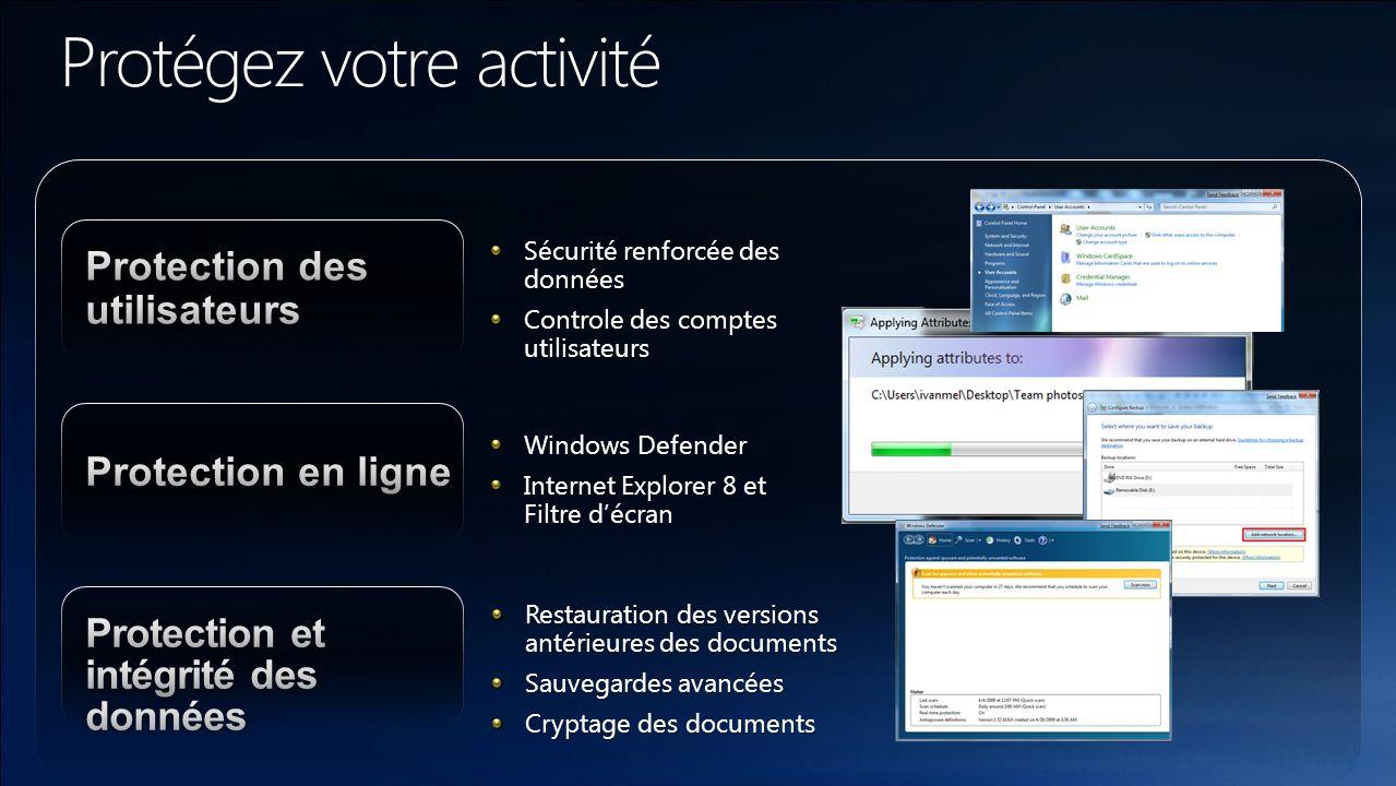 Sécurité renforcée des données Controle des comptes utilisateurs Windows Defender Internet Explorer 8 et Filtre décran Restauration des versions antér