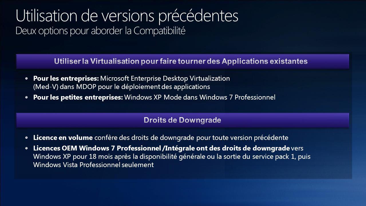 Pour les entreprises: Microsoft Enterprise Desktop Virtualization (Med-V) dans MDOP pour le déploiement des applications Pour les petites entreprises: