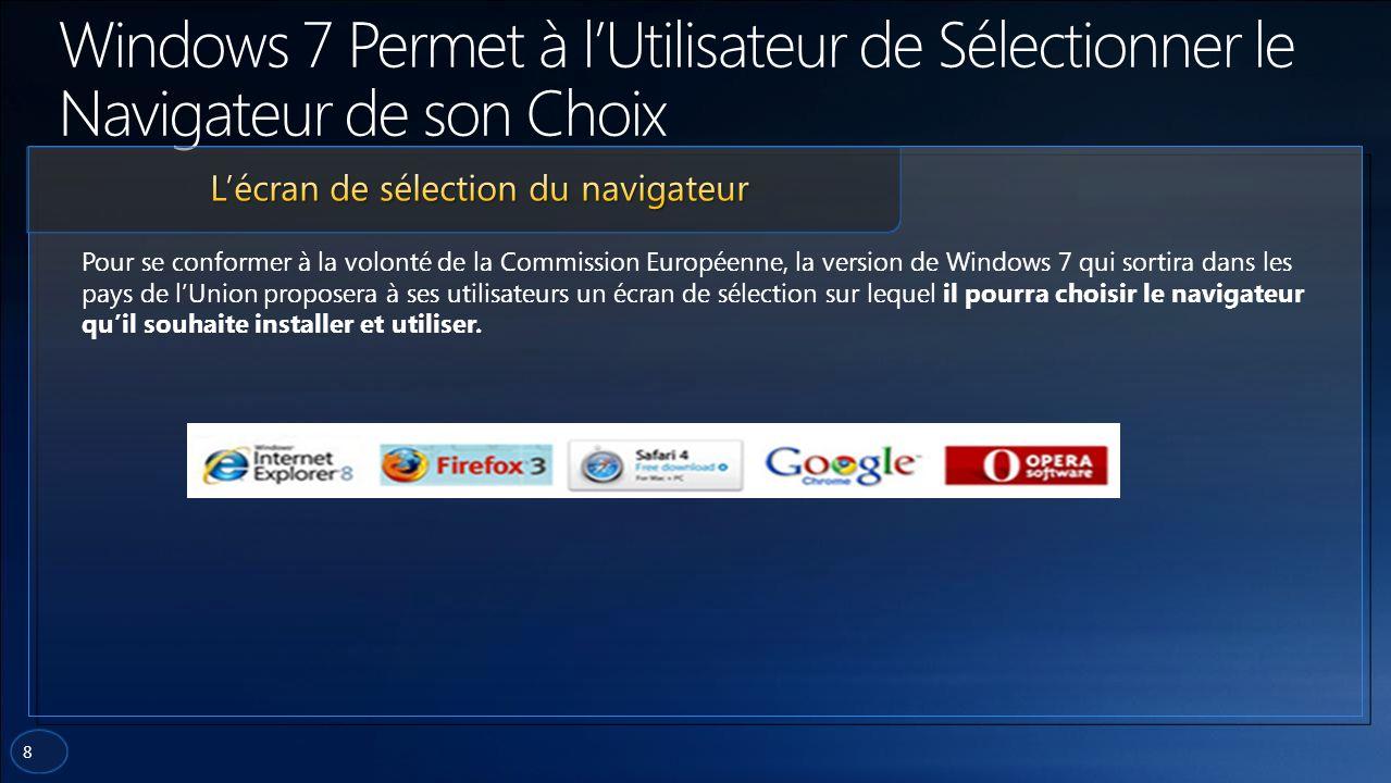 8 Pour se conformer à la volonté de la Commission Européenne, la version de Windows 7 qui sortira dans les pays de lUnion proposera à ses utilisateurs