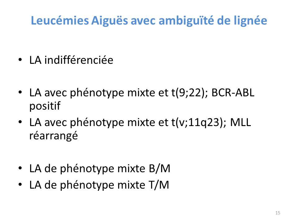 Leucémies Aiguës avec ambiguïté de lignée LA indifférenciée LA avec phénotype mixte et t(9;22); BCR-ABL positif LA avec phénotype mixte et t(v;11q23); MLL réarrangé LA de phénotype mixte B/M LA de phénotype mixte T/M 15