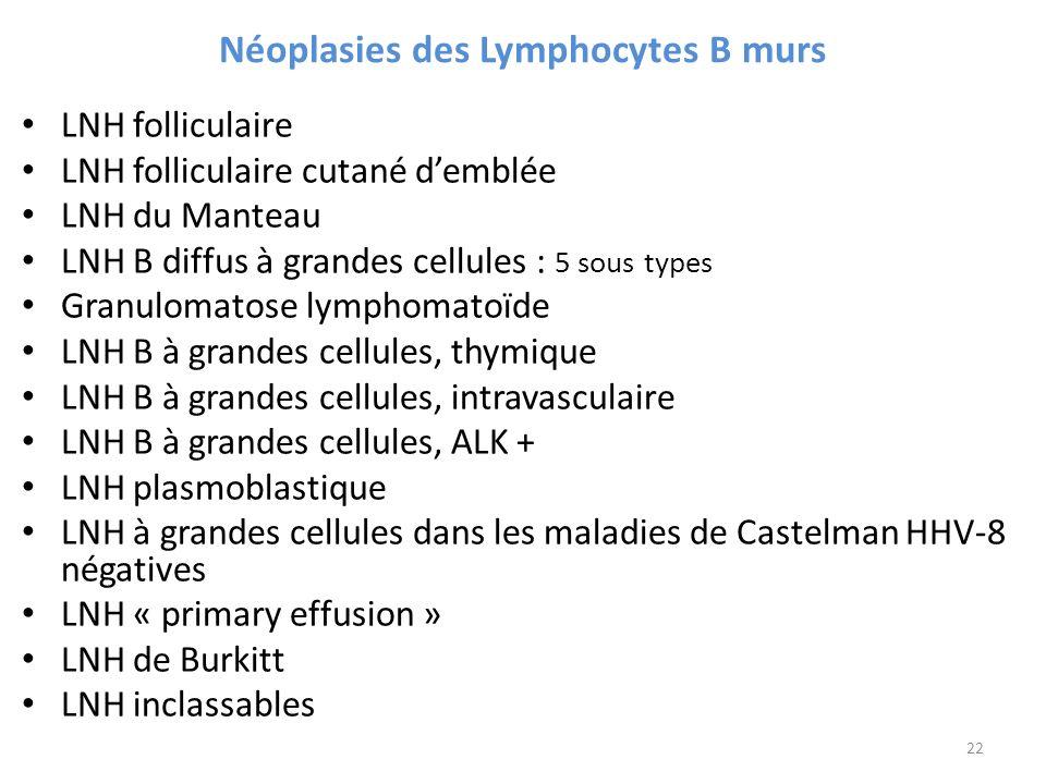 Néoplasies des Lymphocytes B murs LNH folliculaire LNH folliculaire cutané demblée LNH du Manteau LNH B diffus à grandes cellules : 5 sous types Granulomatose lymphomatoïde LNH B à grandes cellules, thymique LNH B à grandes cellules, intravasculaire LNH B à grandes cellules, ALK + LNH plasmoblastique LNH à grandes cellules dans les maladies de Castelman HHV-8 négatives LNH « primary effusion » LNH de Burkitt LNH inclassables 22