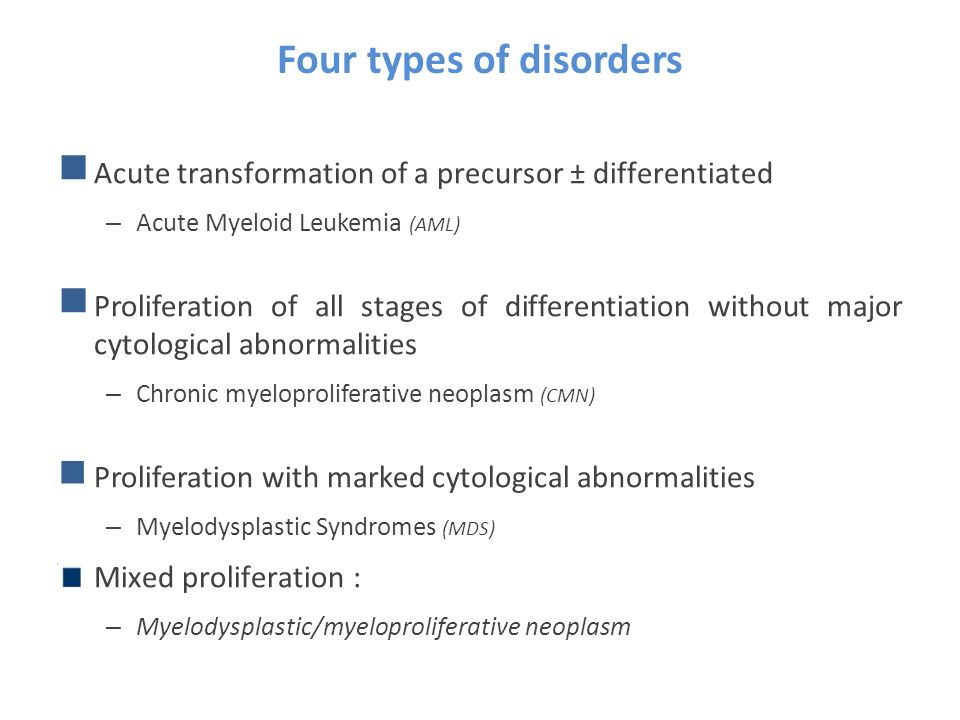 Four types of disorders Acute transformation of a precursor ± differentiated – Acute Myeloid Leukemia (AML) Proliferation of all stages of differentia