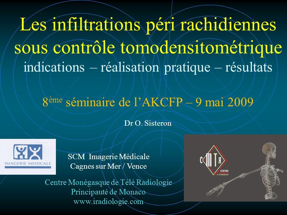 Les infiltrations péri rachidiennes sous contrôle tomodensitométrique indications – réalisation pratique – résultats 8 ème séminaire de lAKCFP – 9 mai 2009 Dr O.