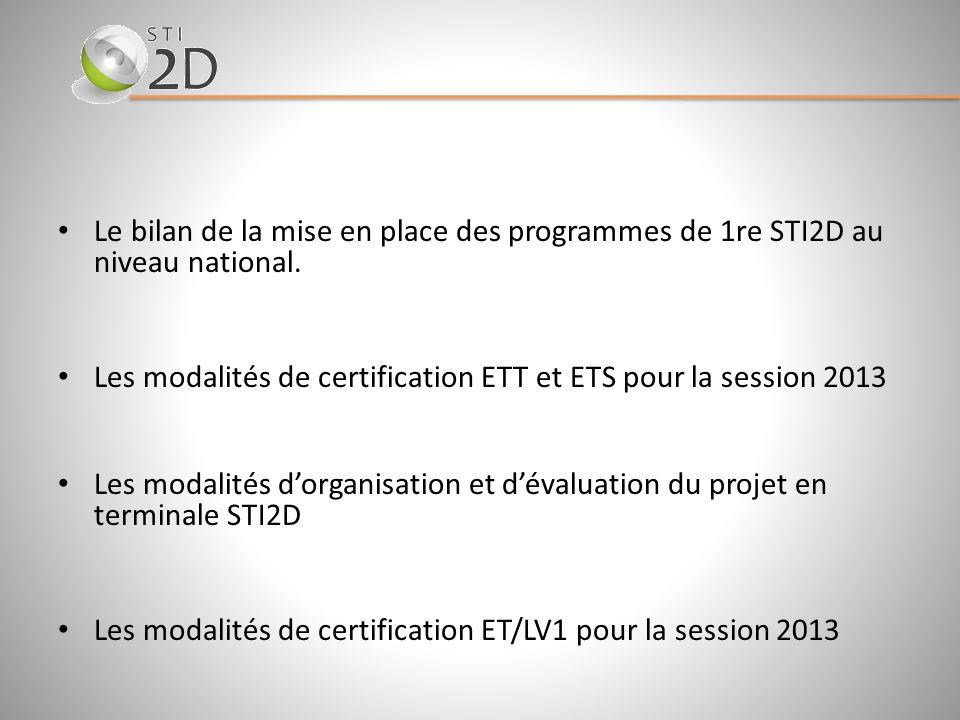 Le bilan de la mise en place des programmes de 1re STI2D au niveau national. Les modalités de certification ETT et ETS pour la session 2013 Les modali