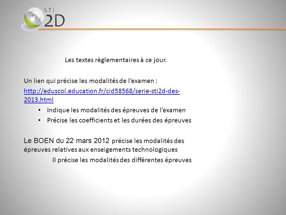 Les textes règlementaires à ce jour. Un lien qui précise les modalités de lexamen : http://eduscol.education.fr/cid58568/serie-sti2d-des- 2013.html In