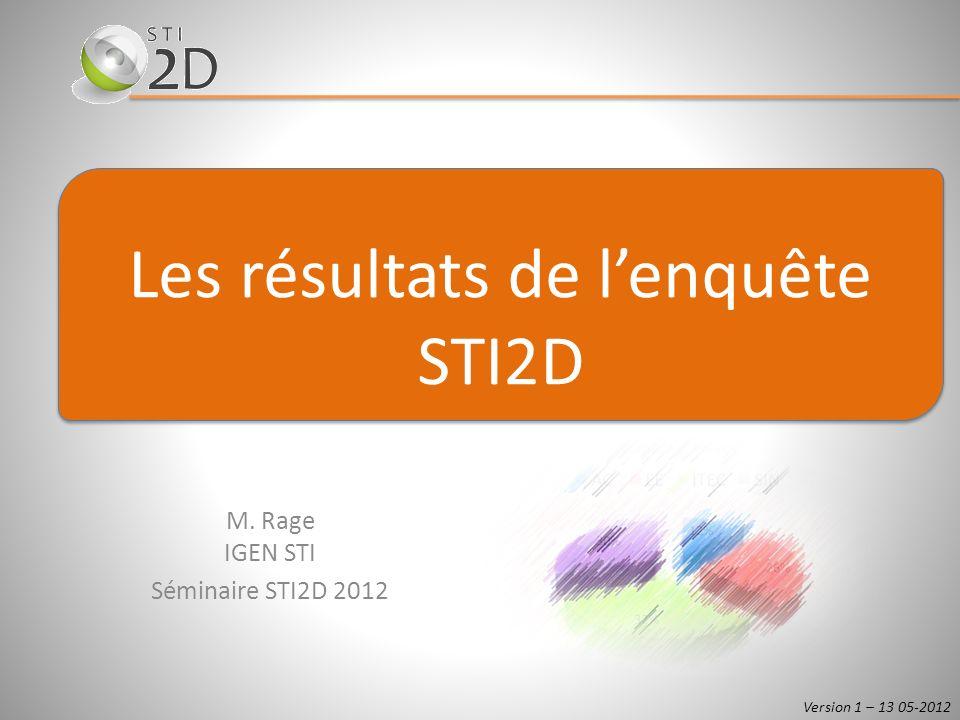 M. Rage IGEN STI Séminaire STI2D 2012 Les résultats de lenquête STI2D Version 1 – 13 05-2012