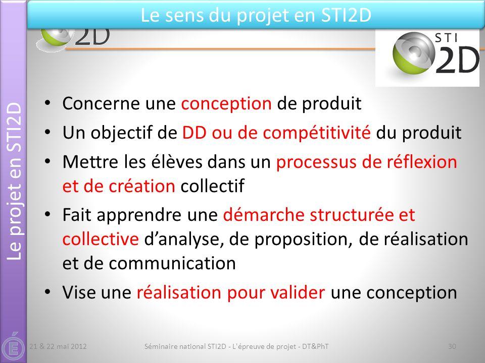 Séminaire national STI2D - L'épreuve de projet - DT&PhT30 Le projet en STI2D Le sens du projet en STI2D Concerne une conception de produit Un objectif