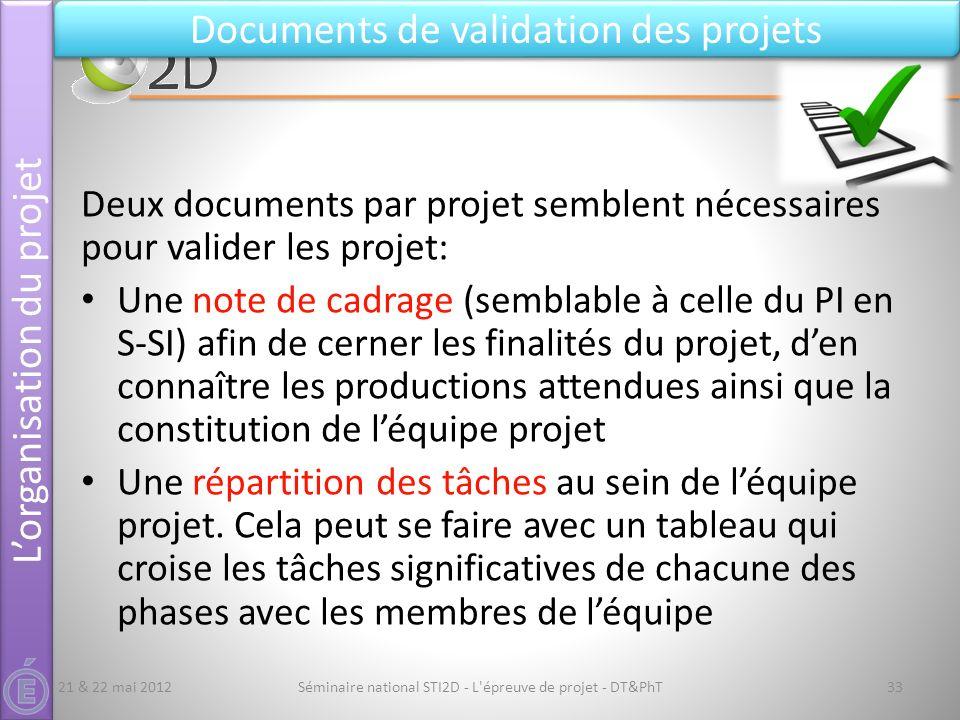 Séminaire national STI2D - L'épreuve de projet - DT&PhT33 Documents de validation des projets 21 & 22 mai 2012 Deux documents par projet semblent néce