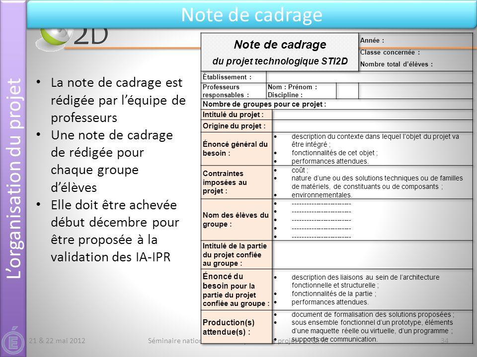 Séminaire national STI2D - L'épreuve de projet - DT&PhT34 Note de cadrage 21 & 22 mai 2012 La note de cadrage est rédigée par léquipe de professeurs U