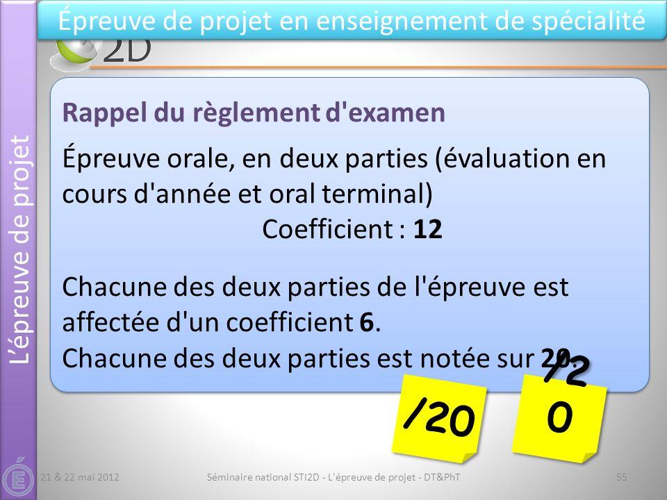 Séminaire national STI2D - L'épreuve de projet - DT&PhT55 Lépreuve de projet Épreuve de projet en enseignement de spécialité Rappel du règlement d'exa