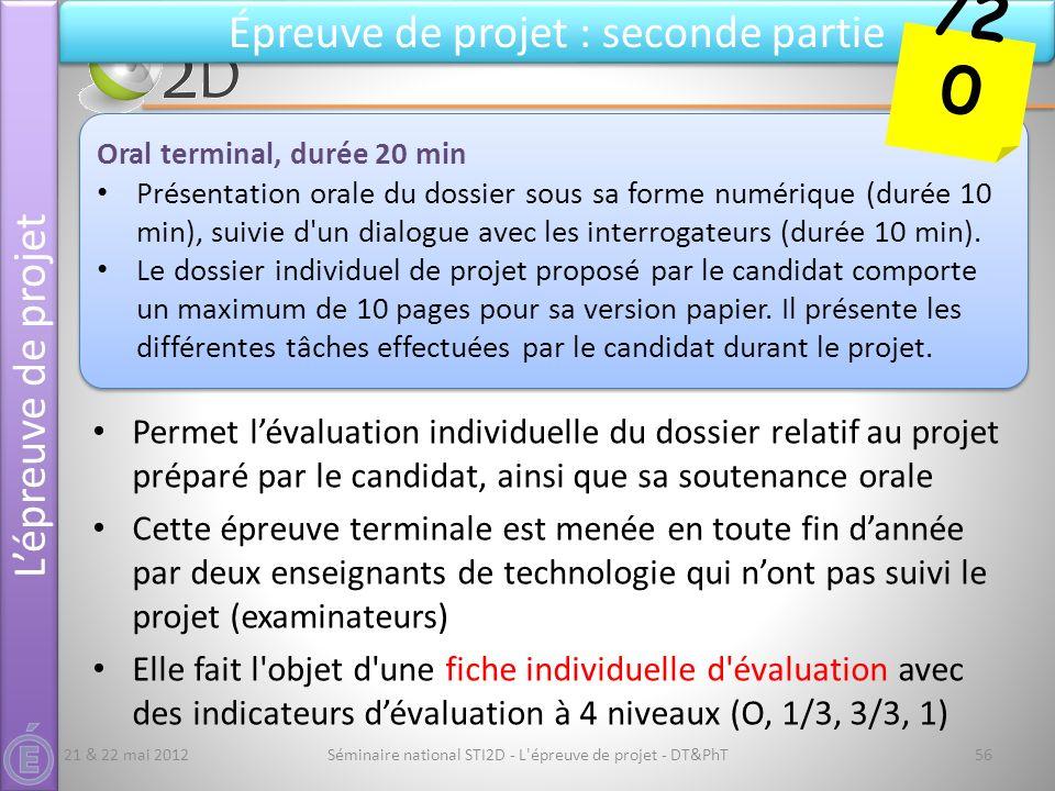 Séminaire national STI2D - L'épreuve de projet - DT&PhT56 Épreuve de projet : seconde partie Permet lévaluation individuelle du dossier relatif au pro