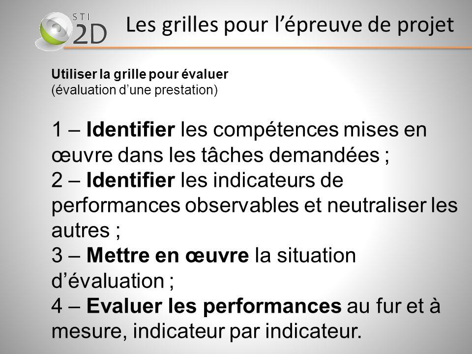 Utiliser la grille pour évaluer (évaluation dune prestation) 1 – Identifier les compétences mises en œuvre dans les tâches demandées ; 2 – Identifier