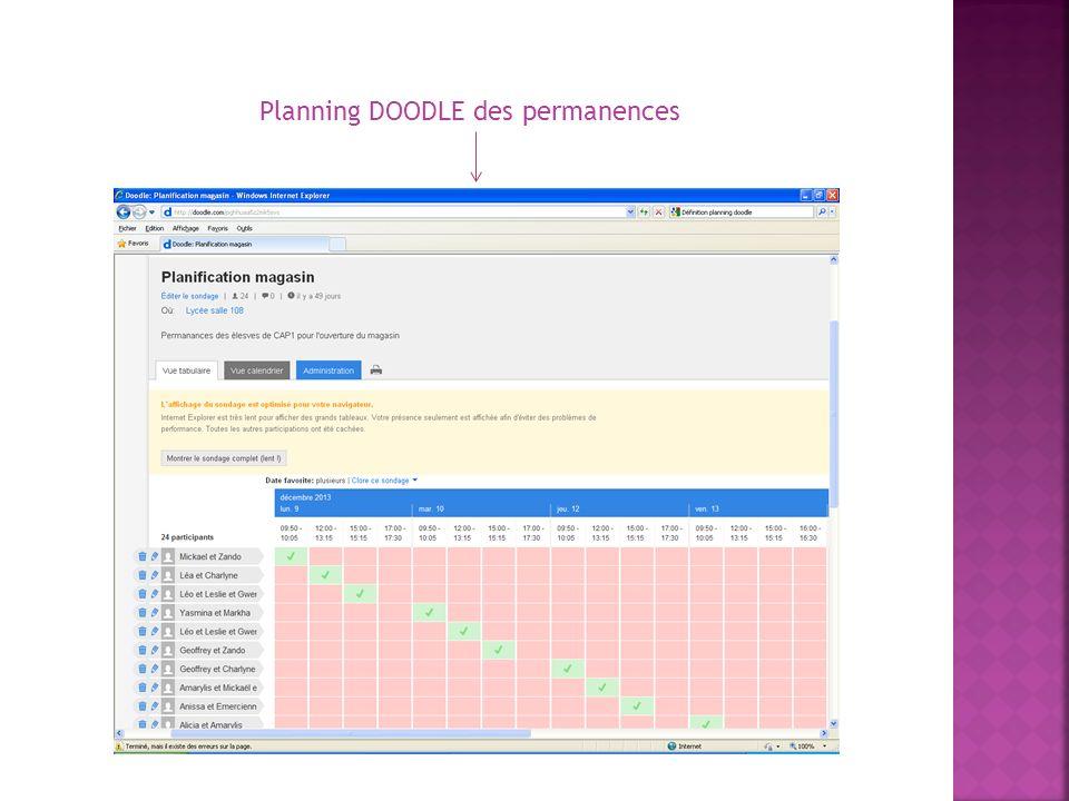 Planning DOODLE des permanences