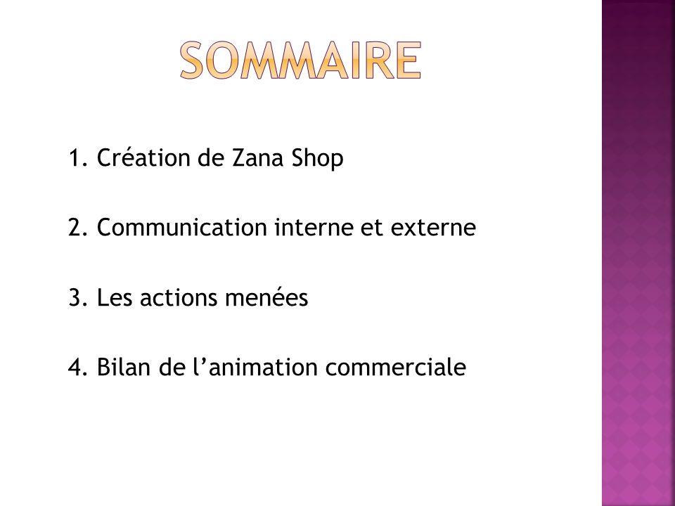 1. Création de Zana Shop 2. Communication interne et externe 3. Les actions menées 4. Bilan de lanimation commerciale