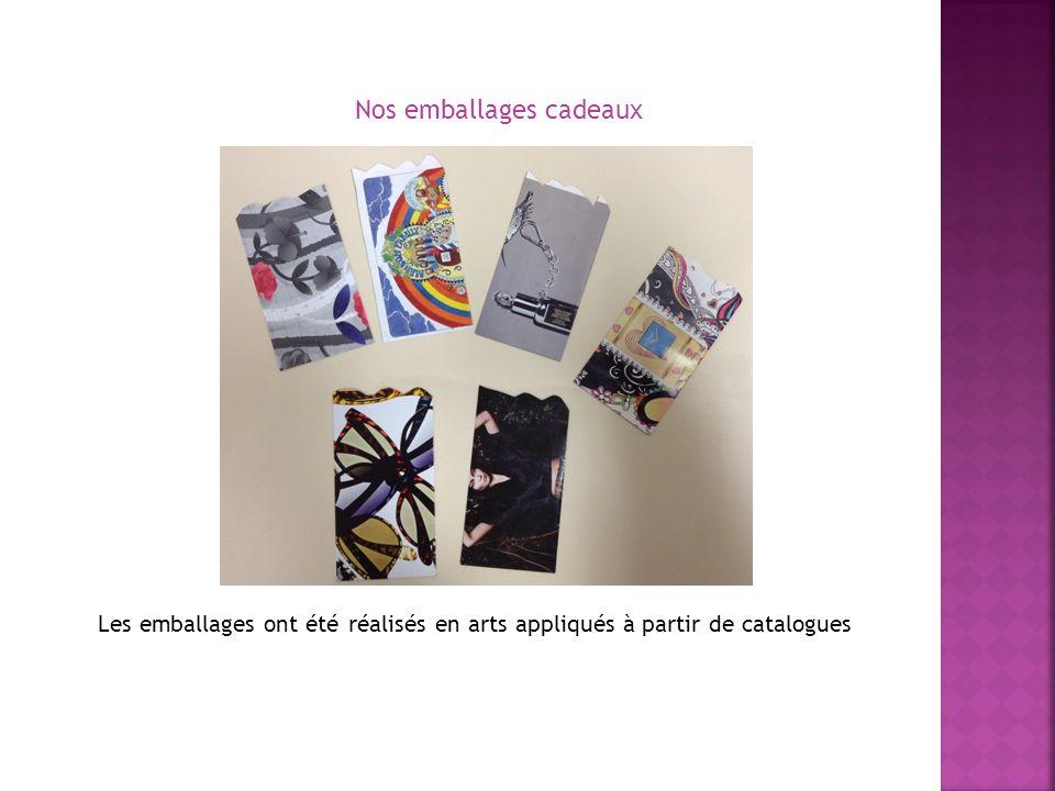 Les emballages ont été réalisés en arts appliqués à partir de catalogues Nos emballages cadeaux