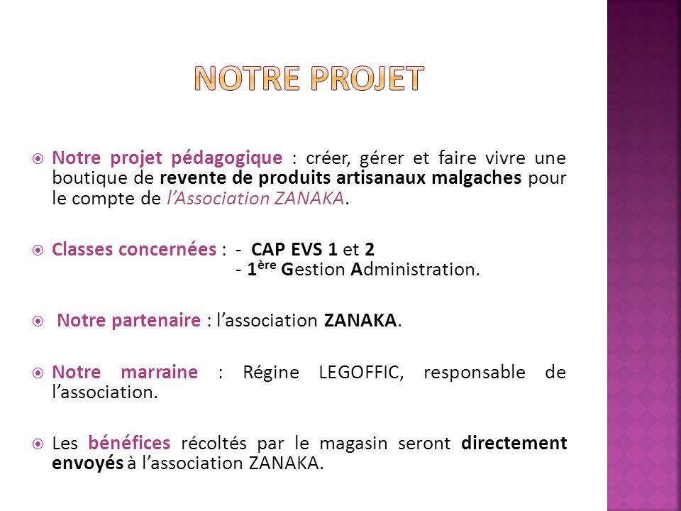 Notre projet pédagogique : créer, gérer et faire vivre une boutique de revente de produits artisanaux malgaches pour le compte de lAssociation ZANAKA.