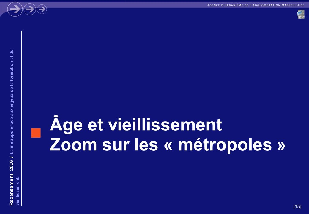 [15] Âge et vieillissement Zoom sur les « métropoles » Recensement 2006 / La métropole face aux enjeux de la formation et du vieillissement