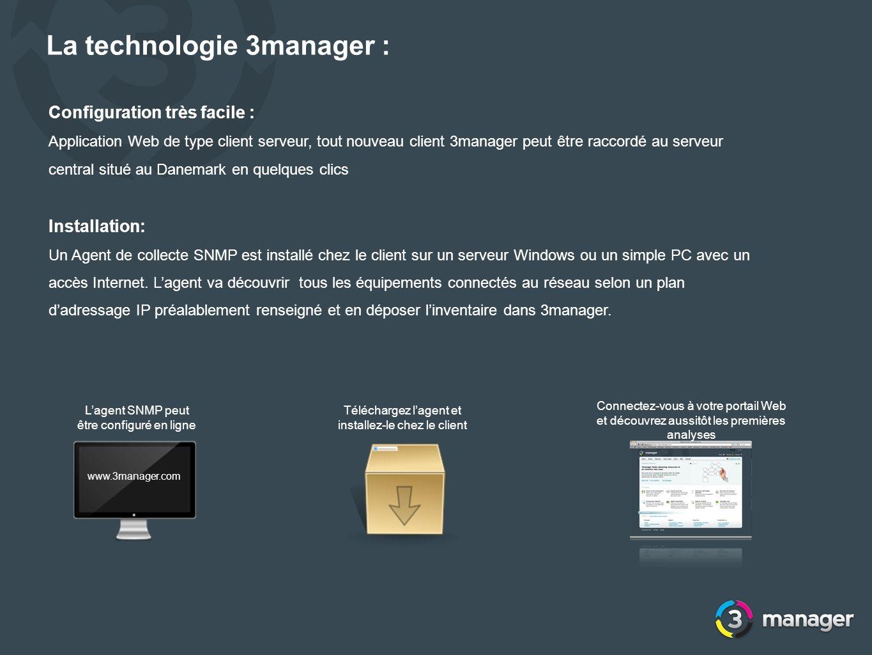 La technologie 3manager : Configuration très facile : Application Web de type client serveur, tout nouveau client 3manager peut être raccordé au serve
