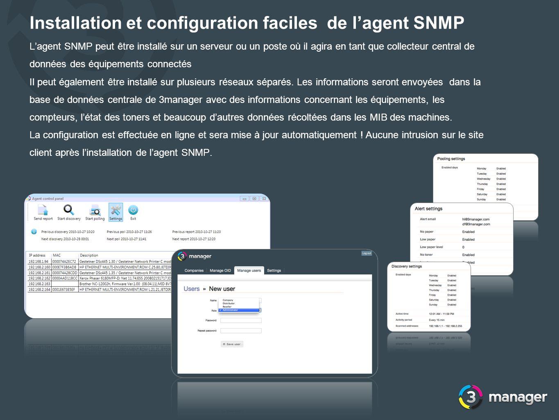 Installation et configuration faciles de lagent SNMP Lagent SNMP peut être installé sur un serveur ou un poste où il agira en tant que collecteur cent