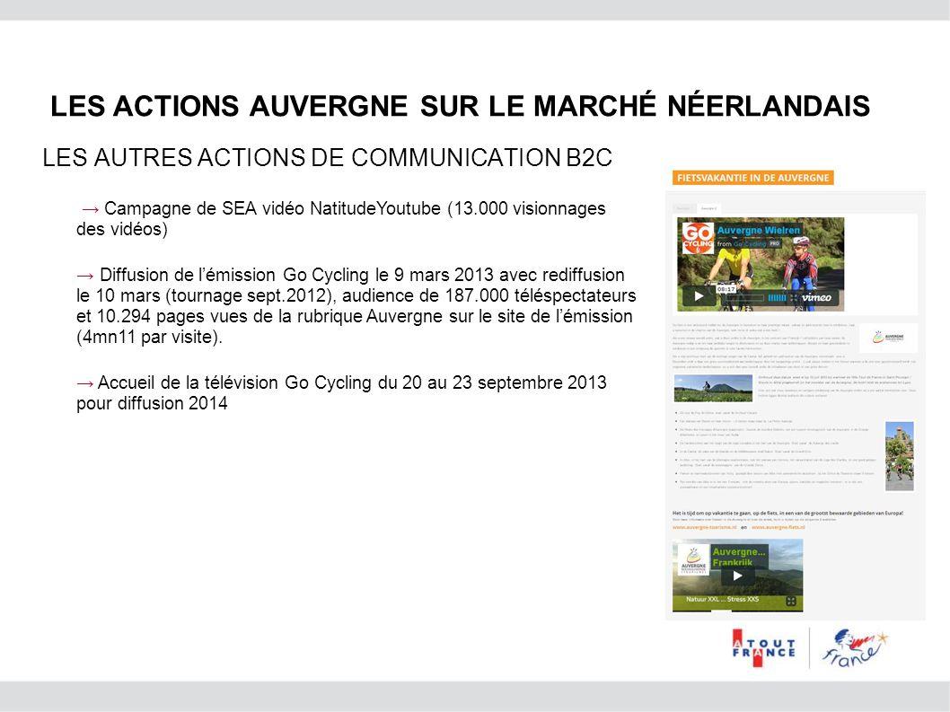 Campagne de SEA vidéo NatitudeYoutube (13.000 visionnages des vidéos) Diffusion de lémission Go Cycling le 9 mars 2013 avec rediffusion le 10 mars (to