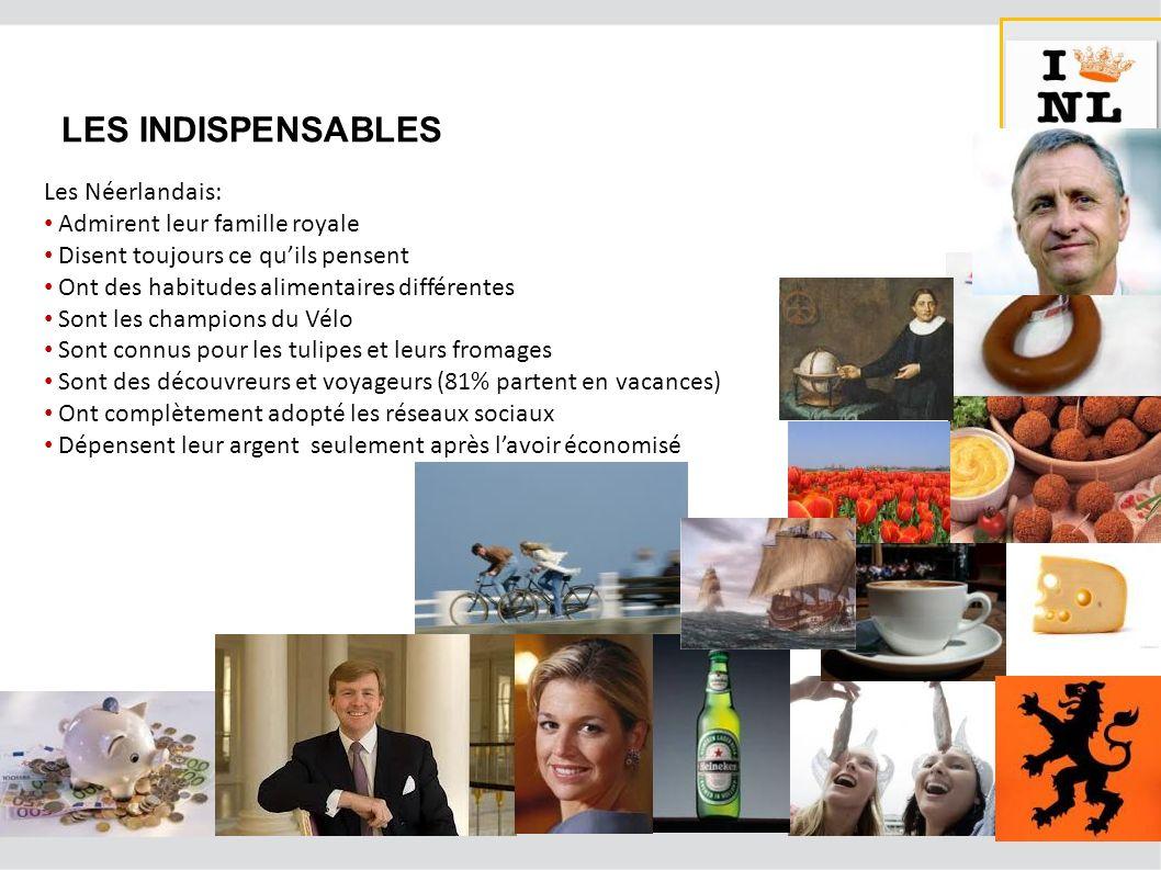 LES INDISPENSABLES Les Néerlandais: Admirent leur famille royale Disent toujours ce quils pensent Ont des habitudes alimentaires différentes Sont les