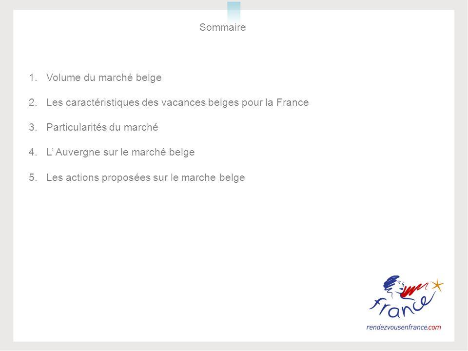 Sommaire 1.Volume du marché belge 2.Les caractéristiques des vacances belges pour la France 3.Particularités du marché 4.L Auvergne sur le marché belg