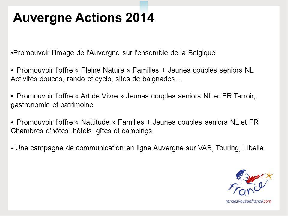 Auvergne Actions 2014 Promouvoir l'image de l'Auvergne sur l'ensemble de la Belgique Promouvoir loffre « Pleine Nature » Familles + Jeunes couples sen