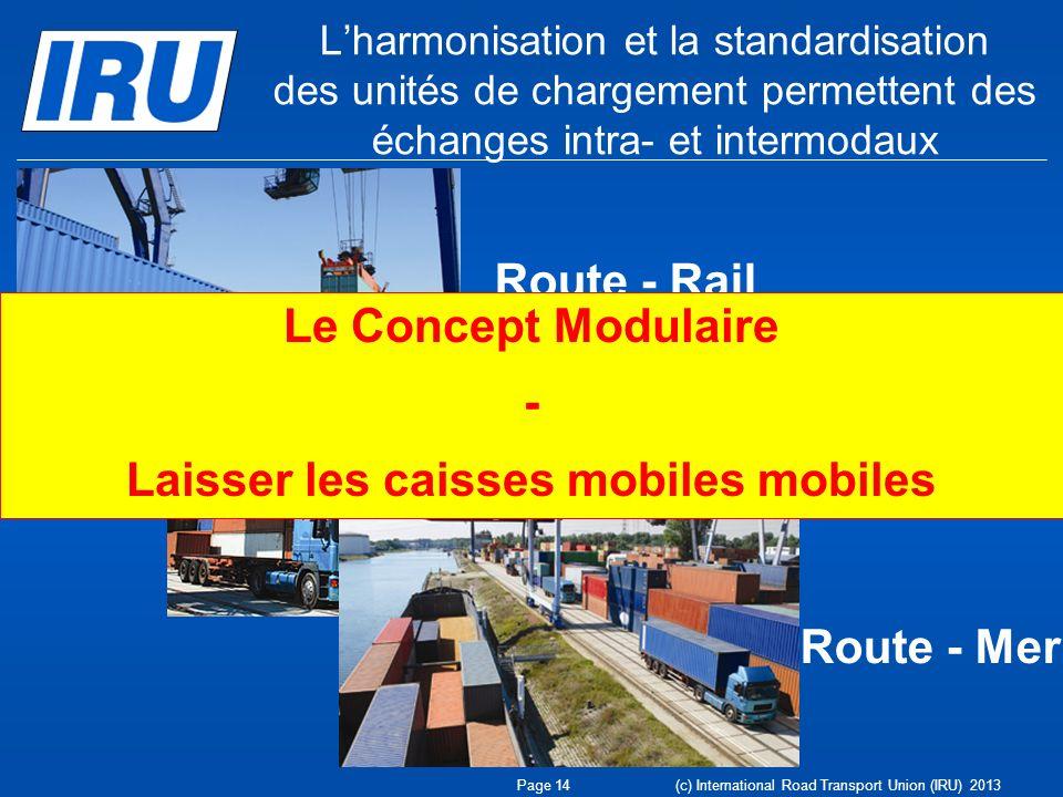 Lharmonisation et la standardisation des unités de chargement permettent des échanges intra- et intermodaux Route - Rail Route - Route Route - Mer Pag