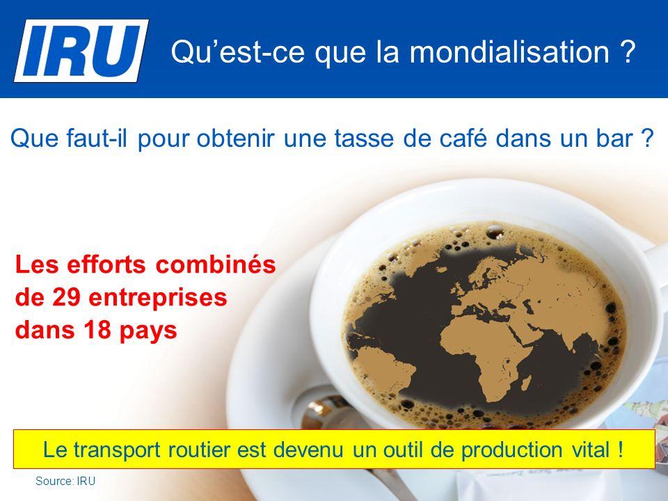 Quest-ce que la mondialisation ? Source: IRU Le transport routier est devenu un outil de production vital ! Les efforts combinés de 29 entreprises dan