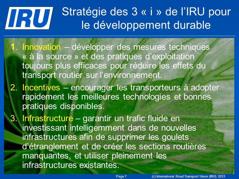 Stratégie des 3 « i » de lIRU pour le développement durable 1. Innovation – développer des mesures techniques « à la source » et des pratiques dexploi