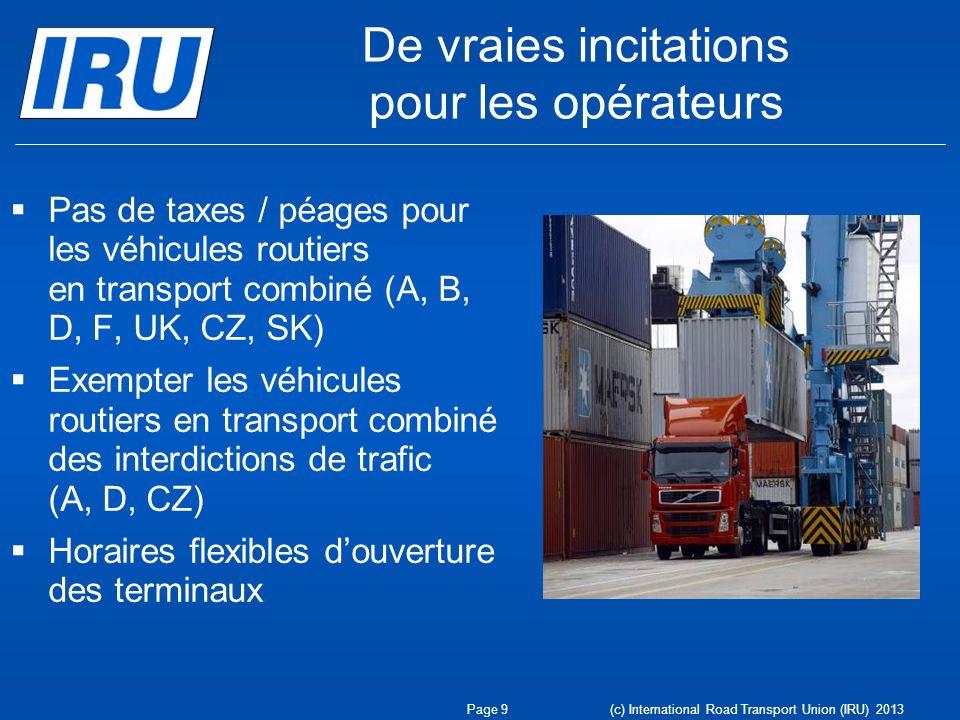 De vraies incitations pour les opérateurs Pas de taxes / péages pour les véhicules routiers en transport combiné (A, B, D, F, UK, CZ, SK) Exempter les