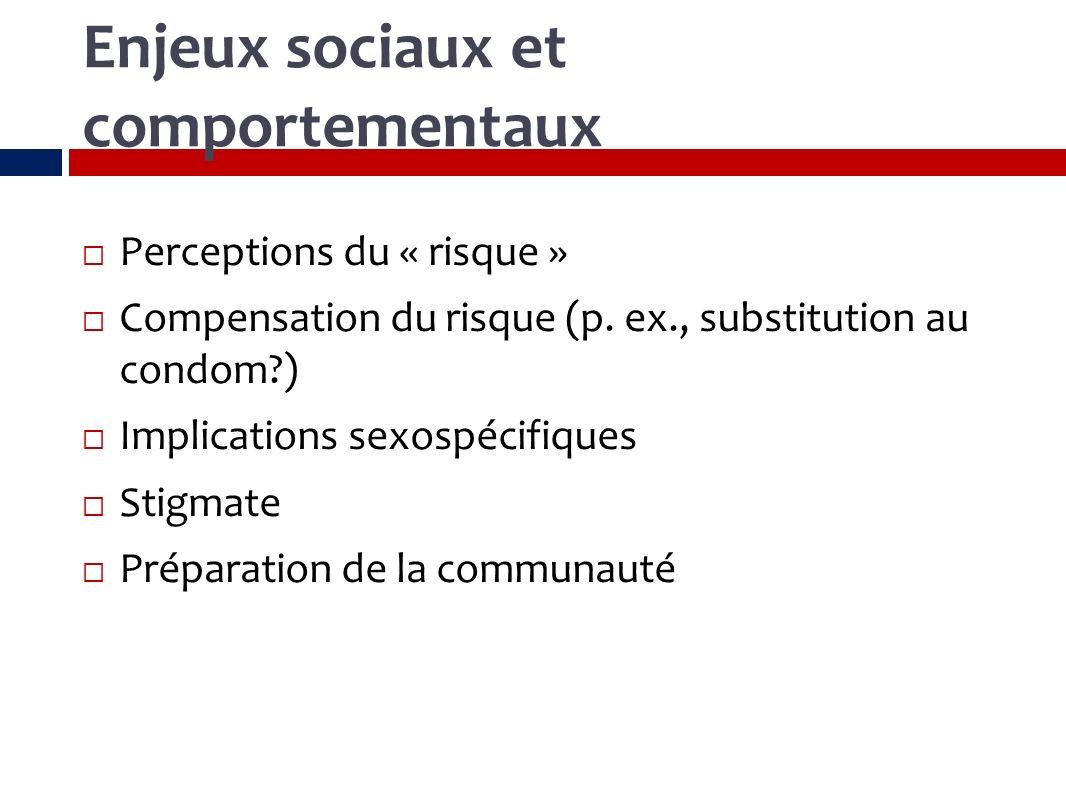 Enjeux sociaux et comportementaux Perceptions du « risque » Compensation du risque (p.