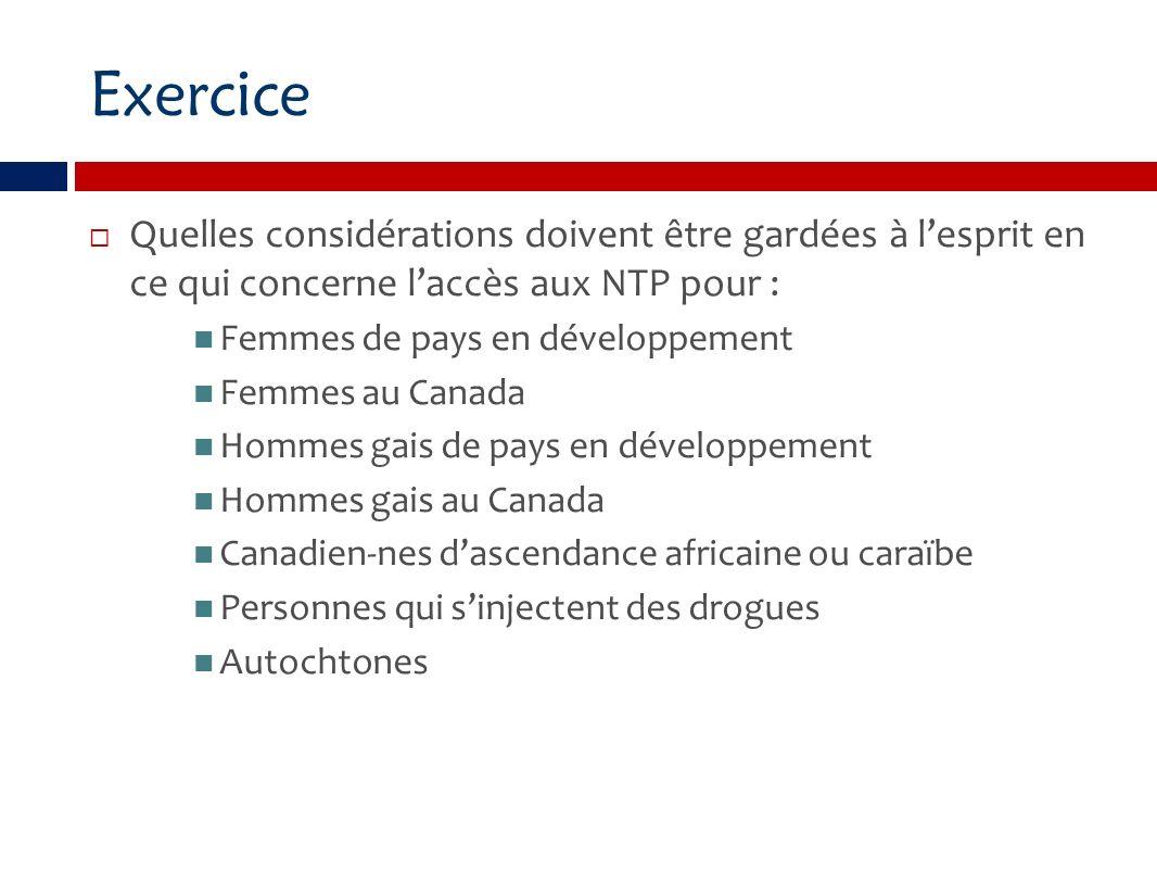 Exercice Quelles considérations doivent être gardées à lesprit en ce qui concerne laccès aux NTP pour : Femmes de pays en développement Femmes au Canada Hommes gais de pays en développement Hommes gais au Canada Canadien-nes dascendance africaine ou caraïbe Personnes qui sinjectent des drogues Autochtones
