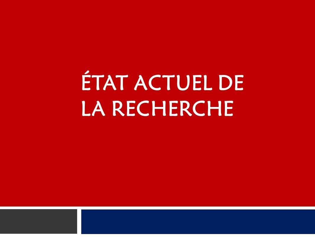 ÉTAT ACTUEL DE LA RECHERCHE
