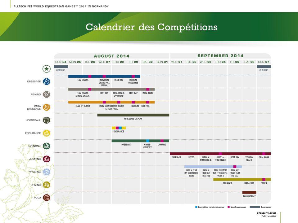 Calendrier des Compétitions PRÉSENTATION OFFICIELLE