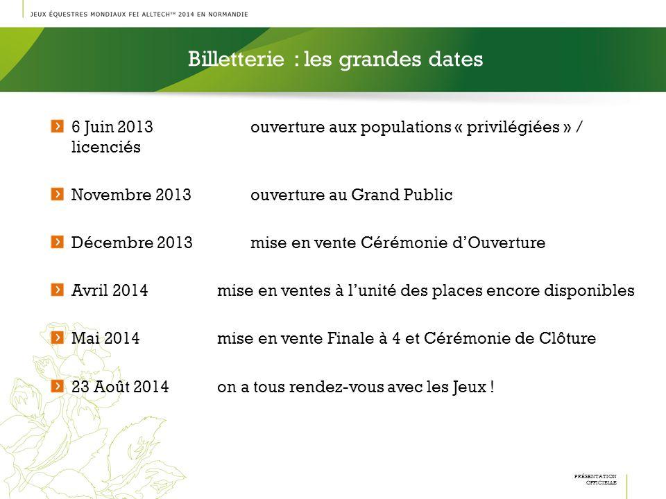 Billetterie : les grandes dates PRÉSENTATION OFFICIELLE 6 Juin 2013ouverture aux populations « privilégiées » / licenciés Novembre 2013ouverture au Gr