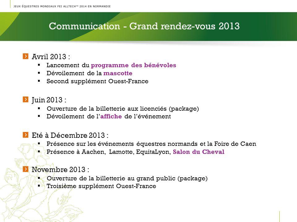 Communication - Grand rendez-vous 2013 l Avril 2013 : Lancement du programme des bénévoles Dévoilement de la mascotte Second supplément Ouest-France J