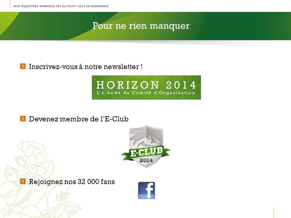 Pour ne rien manquer l Inscrivez-vous à notre newsletter ! Devenez membre de lE-Club Rejoignez nos 32 000 fans