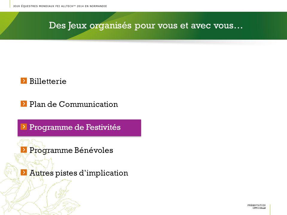 Billetterie Plan de Communication Programme de Festivités Programme Bénévoles Autres pistes dimplication Des Jeux organisés pour vous et avec vous… PR