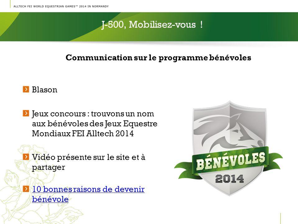 Communication sur le programme bénévoles J-500, Mobilisez-vous ! Blason Jeux concours : trouvons un nom aux bénévoles des Jeux Equestre Mondiaux FEI A