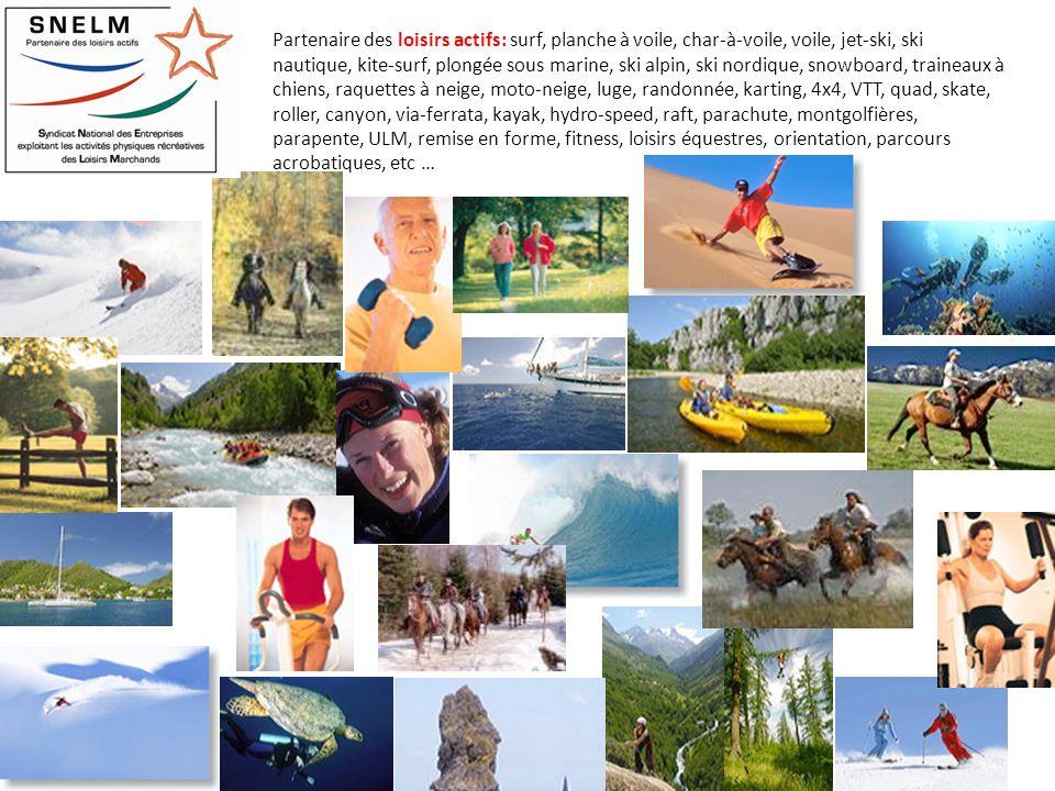 Partenaire des loisirs actifs: surf, planche à voile, char-à-voile, voile, jet-ski, ski nautique, kite-surf, plongée sous marine, ski alpin, ski nordi