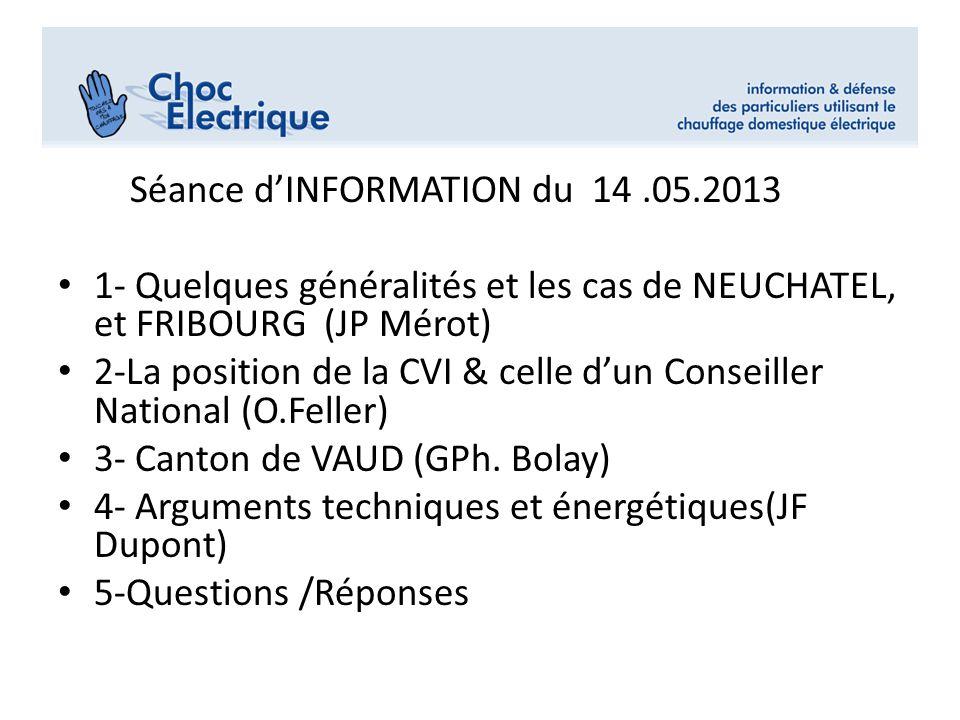 Séance dINFORMATION du 14.05.2013 1- Quelques généralités et les cas de NEUCHATEL, et FRIBOURG (JP Mérot) 2-La position de la CVI & celle dun Conseill