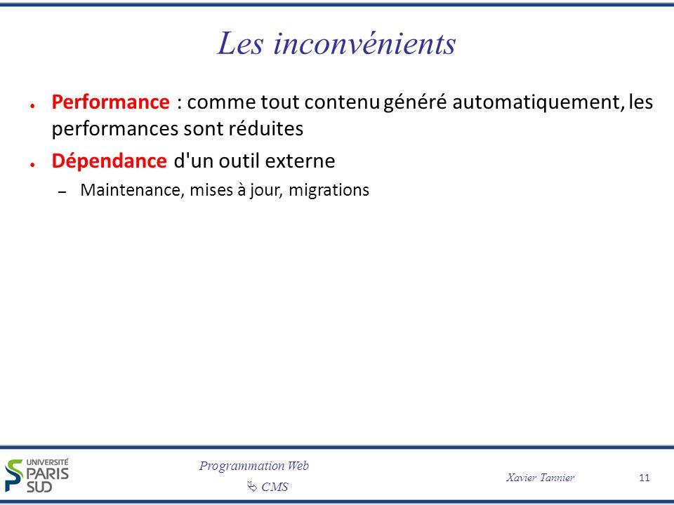 Programmation Web CMS Xavier Tannier 11 Les inconvénients Performance : comme tout contenu généré automatiquement, les performances sont réduites Dépe