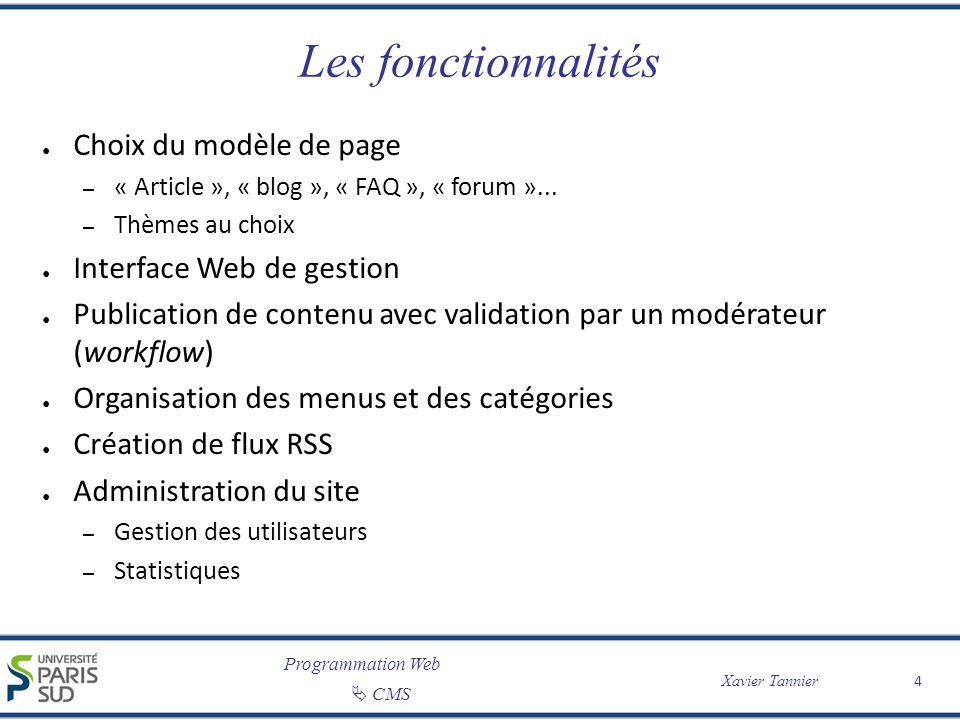 Programmation Web CMS Xavier Tannier 4 Les fonctionnalités Choix du modèle de page – « Article », « blog », « FAQ », « forum »... – Thèmes au choix In