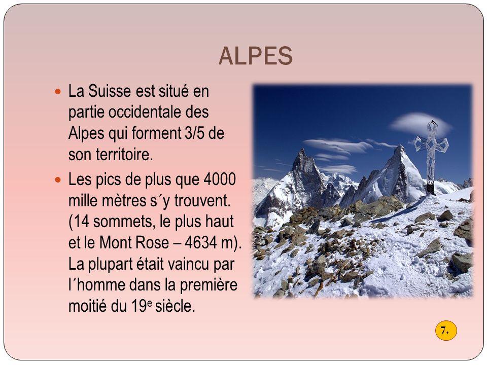 Les montagnes représent pour la Suisse d´un côté un espace touristique par exellence (stations de ski) et une protection naturelle durant les temps de guerres (la Suisse était toujours un lieu de protection pour les réfugiés venus d´autres pays.
