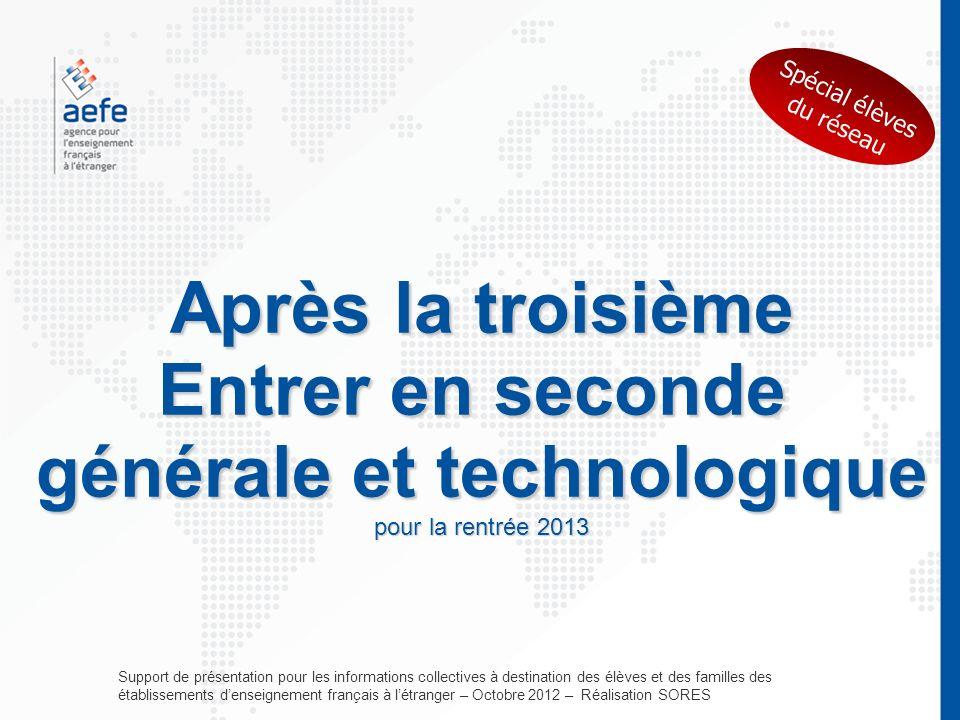 Après la troisième Entrer en seconde générale et technologique pour la rentrée 2013 Support de présentation pour les informations collectives à destin