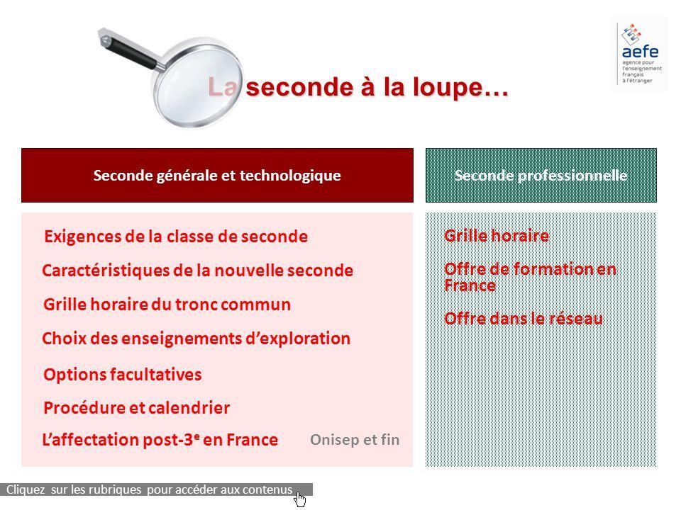 La seconde à la loupe… La seconde à la loupe… Seconde générale et technologiqueSeconde professionnelle Cliquez sur les rubriques pour accéder aux cont
