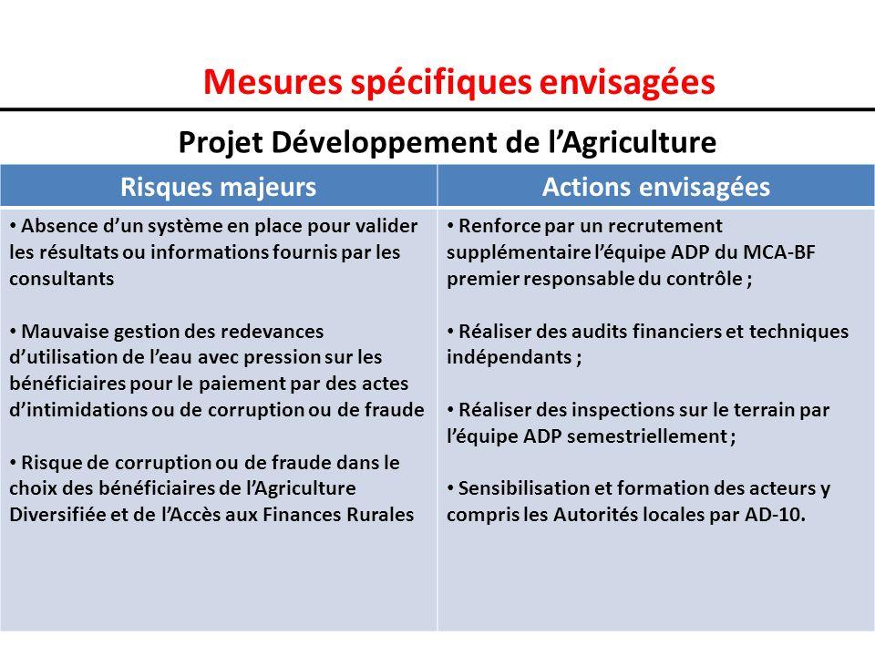 Mesures spécifiques envisagées Projet Développement de lAgriculture Risques majeursActions envisagées Absence dun système en place pour valider les ré