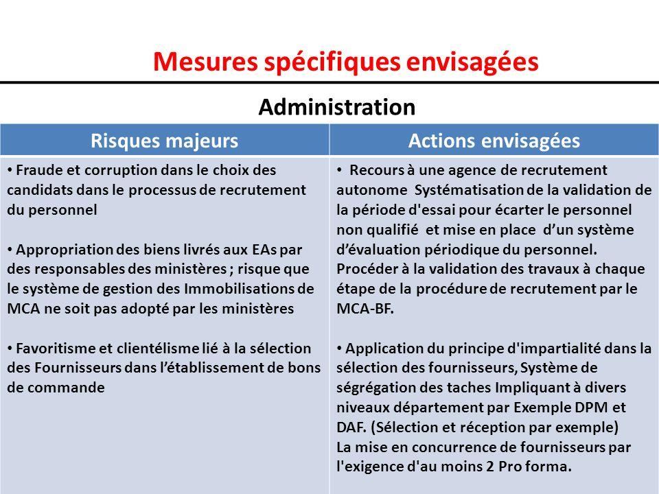 Mesures spécifiques envisagées Administration Risques majeursActions envisagées Fraude et corruption dans le choix des candidats dans le processus de