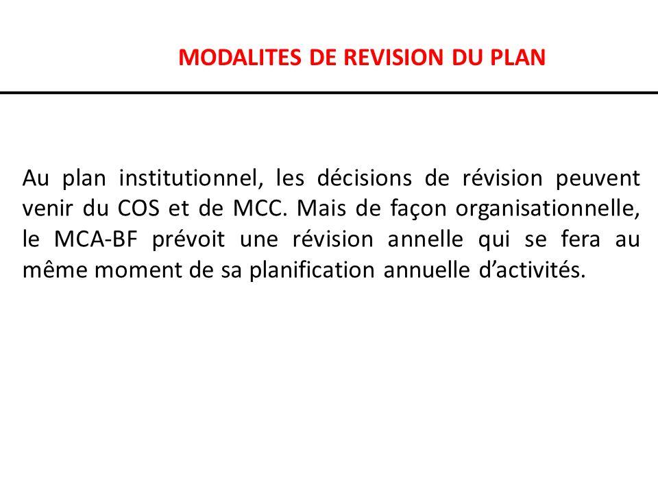 MODALITES DE REVISION DU PLAN Au plan institutionnel, les décisions de révision peuvent venir du COS et de MCC. Mais de façon organisationnelle, le MC